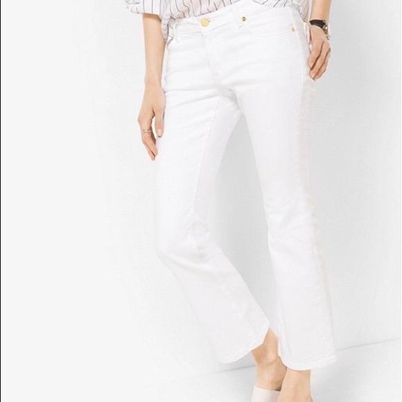 f62eaf83eb16 Michael Kors White Cropped Kick Flare Jeans. M_5adff2b485e6056c5f8b9917